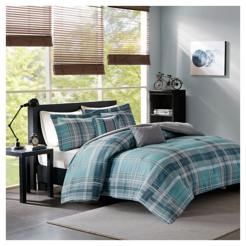 Aqua Kevin Plaid Printed Comforter Set Twin Twin Xl Blue
