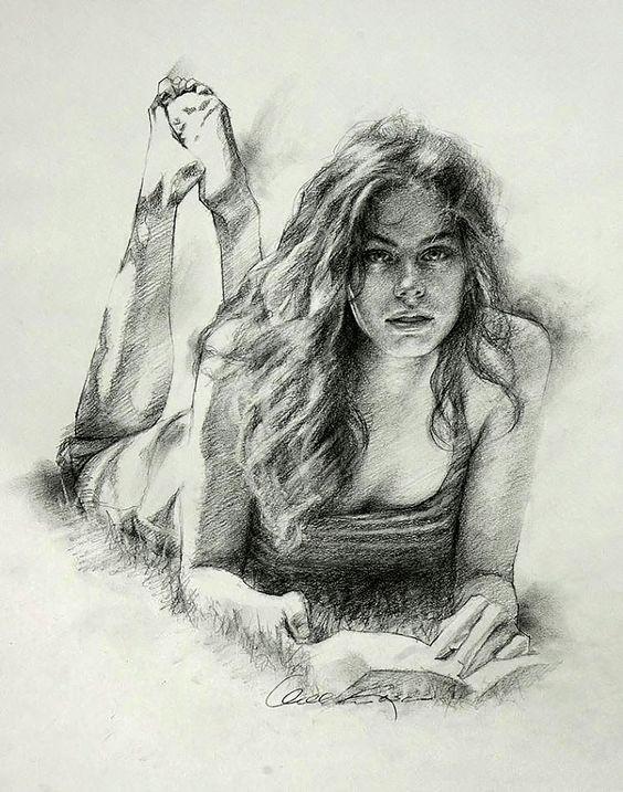 Woman Looking Arte Humano Dibujos Figura Humana Arte De Color Carbon