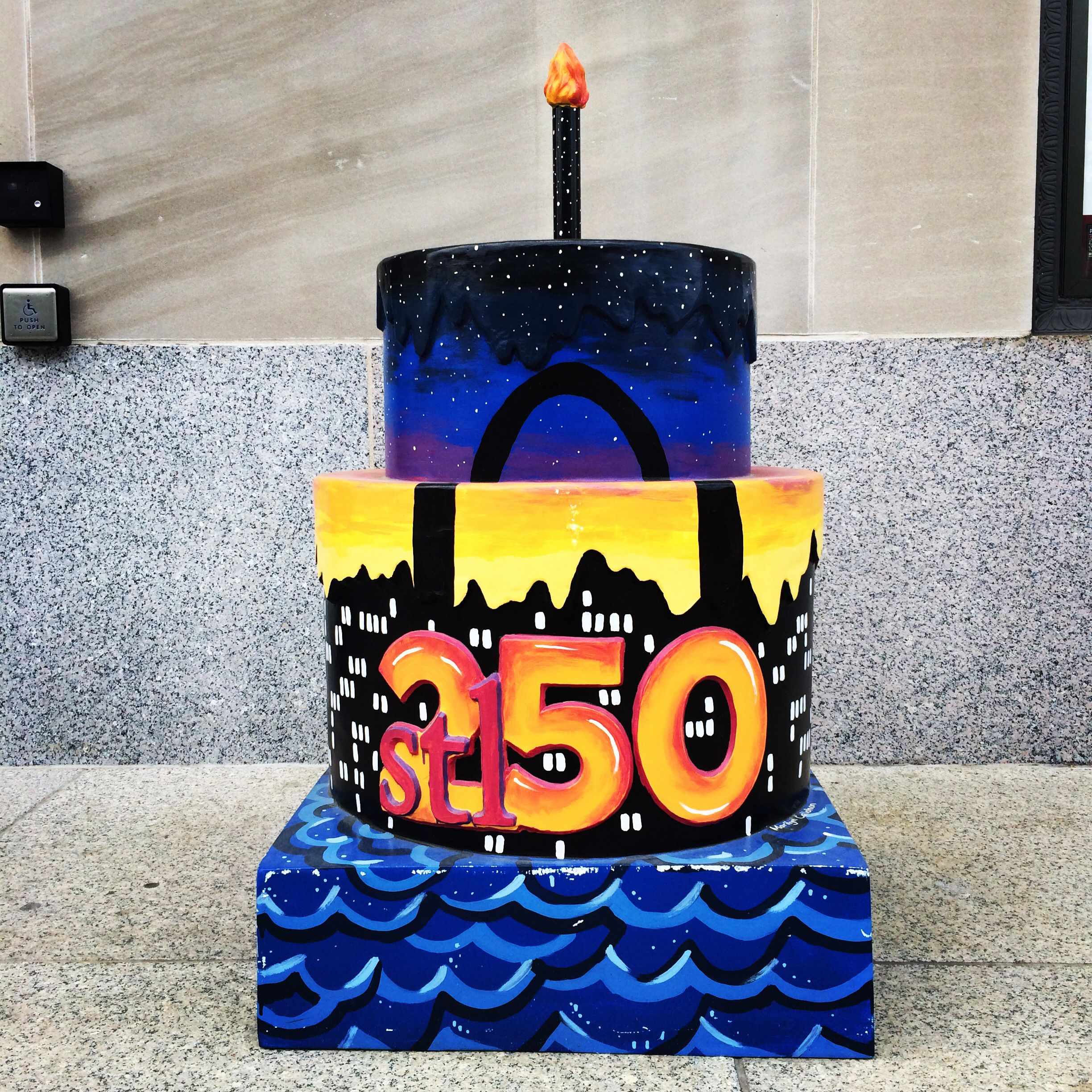 stl250 cake in front of Peabody Opera House St Louis 250 Cakes