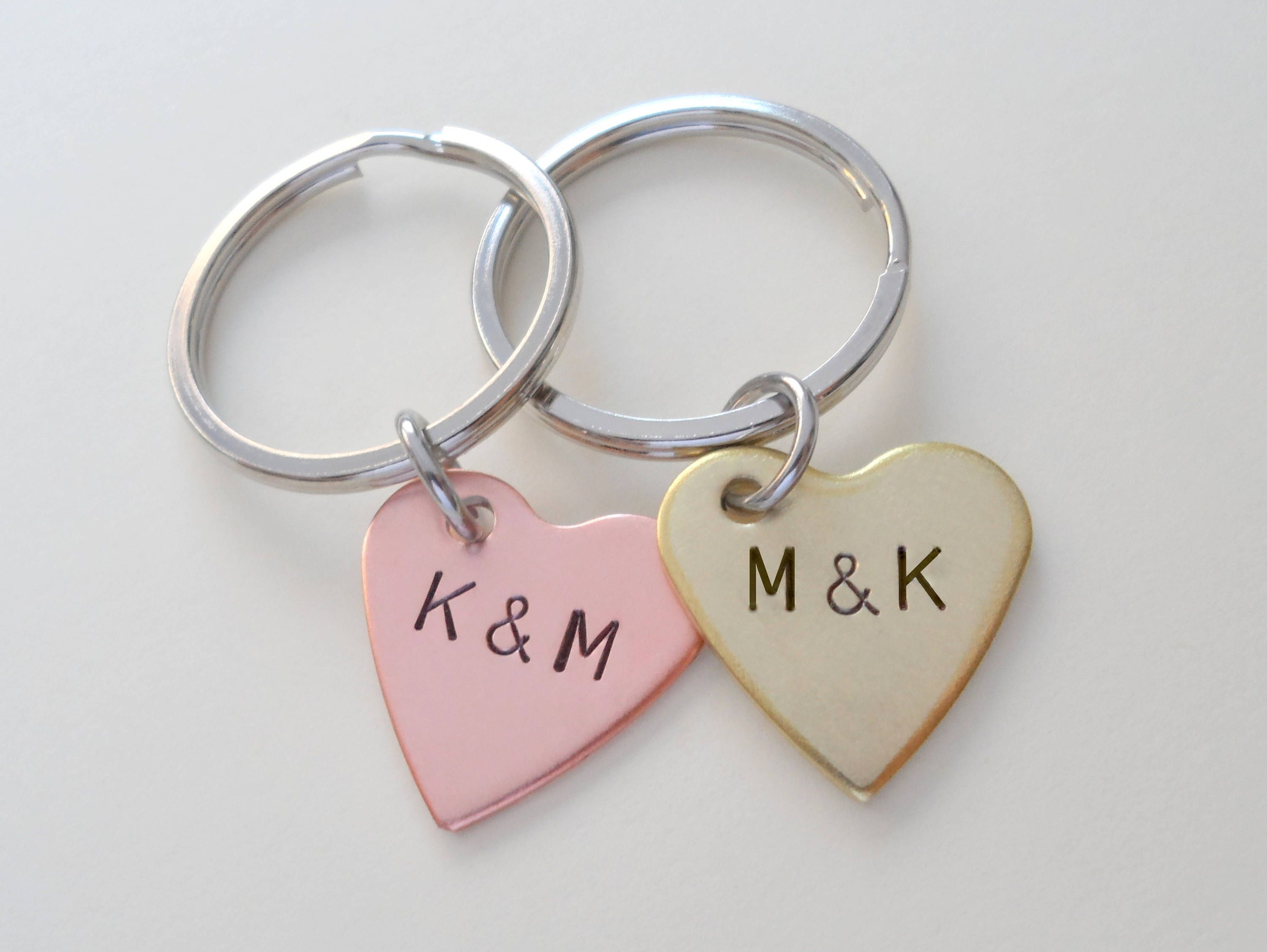 Brass & Copper Heart Keychains, Traditional and Modern 7