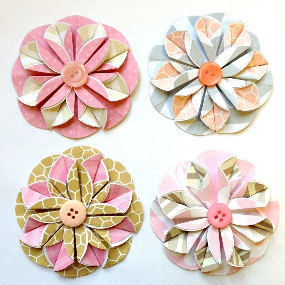 Pretty In Pink Collection 4 Flat Origami Flowers By PaperBirdCo