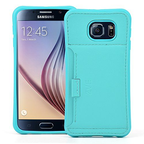 Wallet Case - Leather Case for Samsung Galaxy S6 by ZVE® Ultra Slim Protective Leather Wallet Cover with Credit Card ID Holders for Samsung S6 Credit Card Carrying Case (Mint Green)