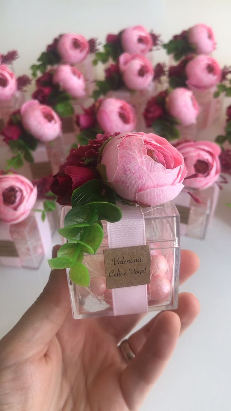 10pcs Blush Wedding Favors for Guests, Box with Candies & Flowers, Baptism Favors, Bridal Shower Party Favors, Candy Favor Box, Pink favors