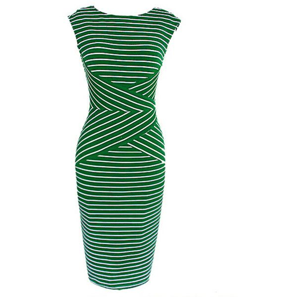 Green Mixed Stripe Sleeveless Bodycon Midi Dress (91.520 COP) ❤ liked on Polyvore featuring dresses, white sleeveless dress, green sleeveless dress, bodycon midi dress, striped midi dress and body con dress