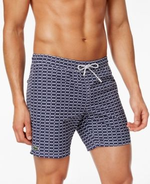 e7ae079f5e5ae Lacoste Men's Drawstring Brick-Pattern Swim Trunks - Blue XL | Products