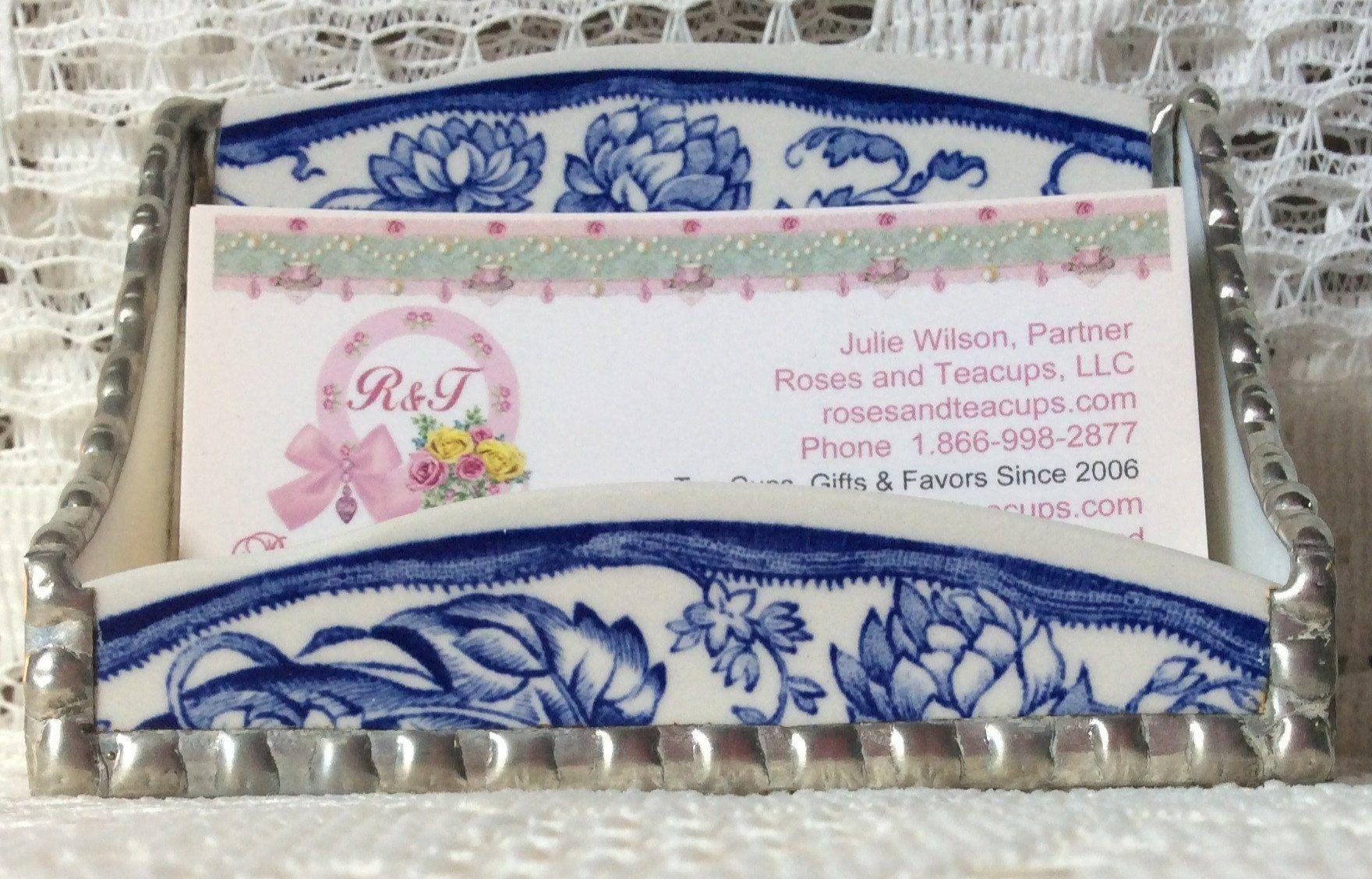 Dark Blue Floral Broken China Business Card Holder - One of a Kind ...
