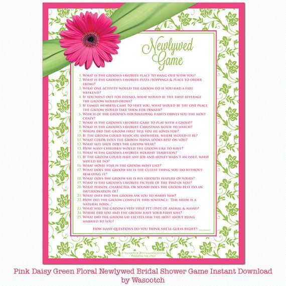 pink gerbera daisy and chartreuse green and white floral and ribbon newlywed game bridal shower game instant downloadable by wasootch 500 bridalshower