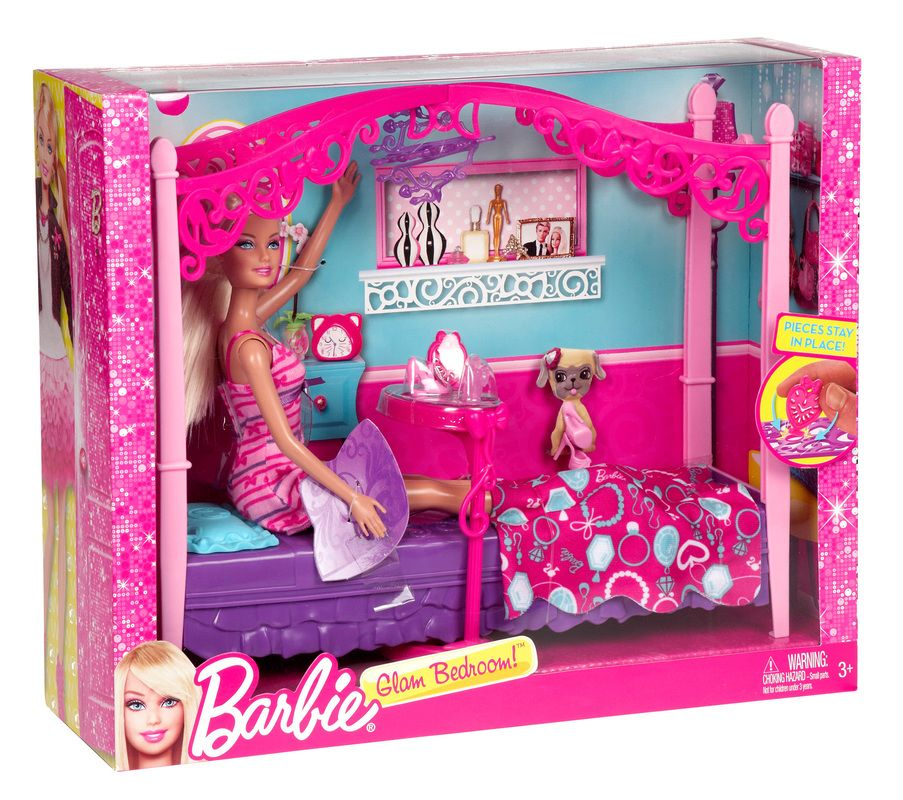 Barbie Glam Bedroom Furniture and Doll Set | Fun Kid Stuff ...