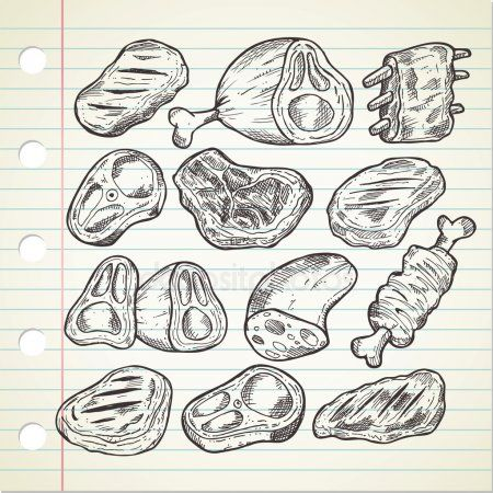 set vlees in doodle stijl schets eten italiaans eten