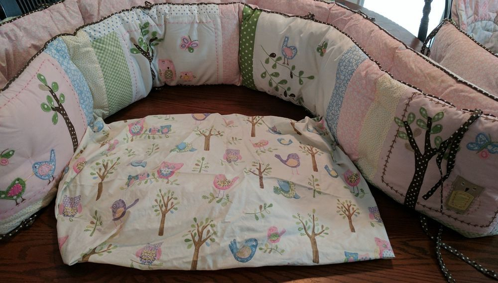 Pottery Barn Hayley Owl Crib Bedding Pink Girl Sheet Bumper
