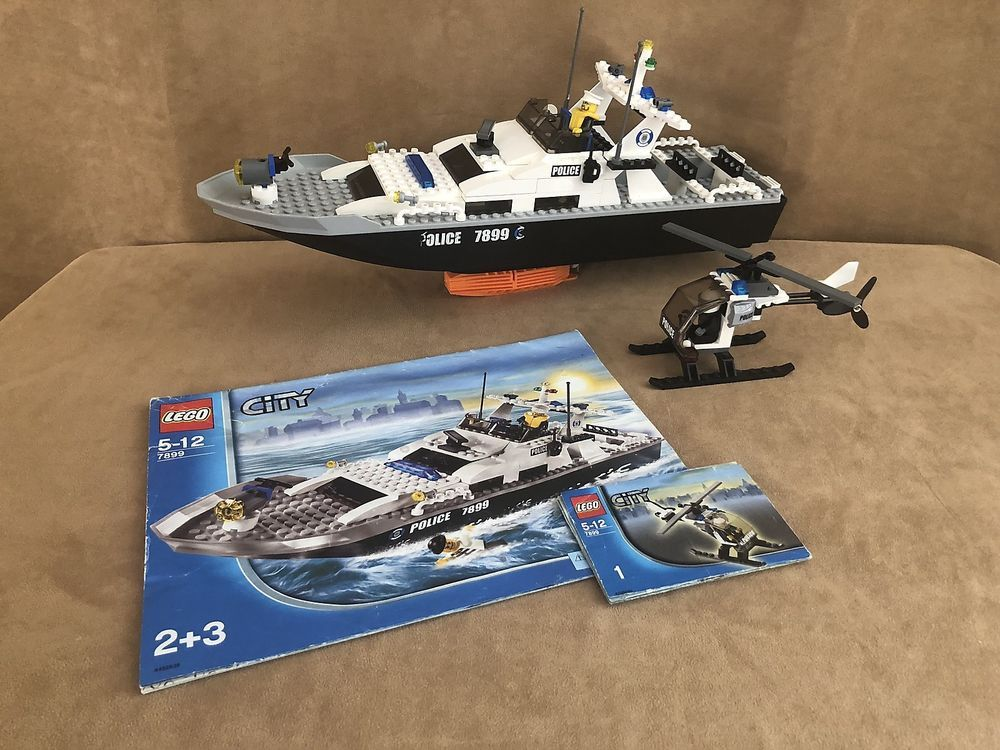 7899 Lego Complete City Police Police Boat Floating Motor Coat Guard Water Lego Boat Boat Lego City Police
