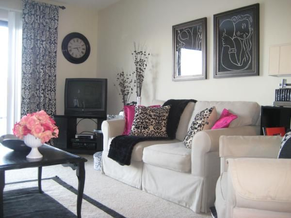Black And White And Pink Living Room living rooms - black and white, pink, my living room in my