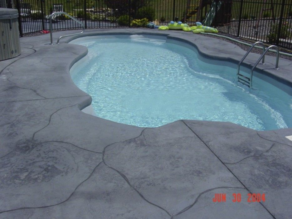 Decorating Wonderful Gray Color Modern Stamped Concrete Pool Deck