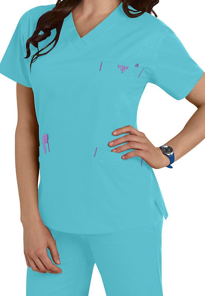 516d98e87fb Med Couture EZ Flex classic v-neck scrub top. Main Image | Scrubs ...