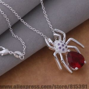 Silver Holly Necklace set with Red Cubic Zirconia includes Chain