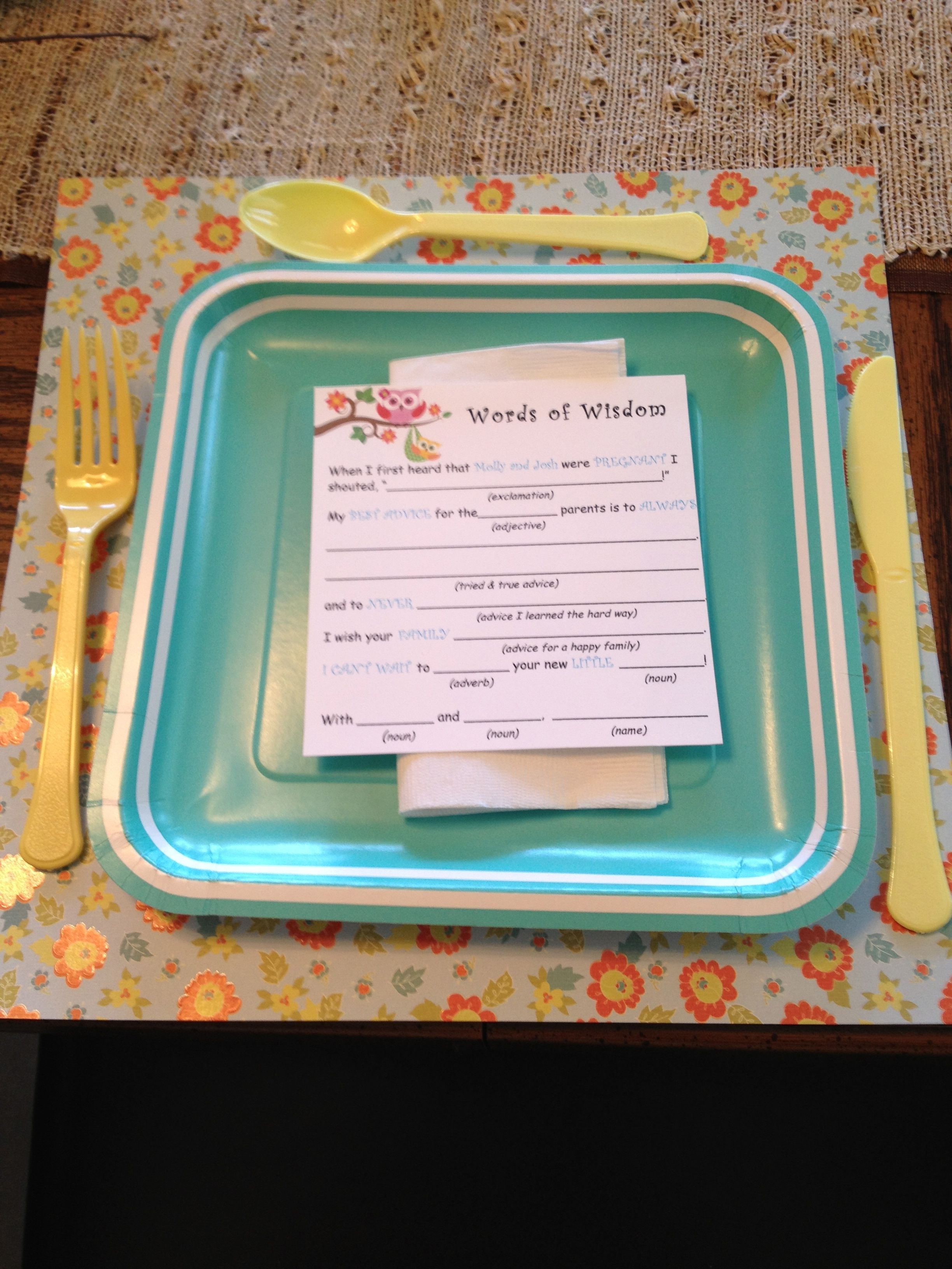 DIY Vintage Owl-themed Baby Shower: Baby Mad-Libs Game