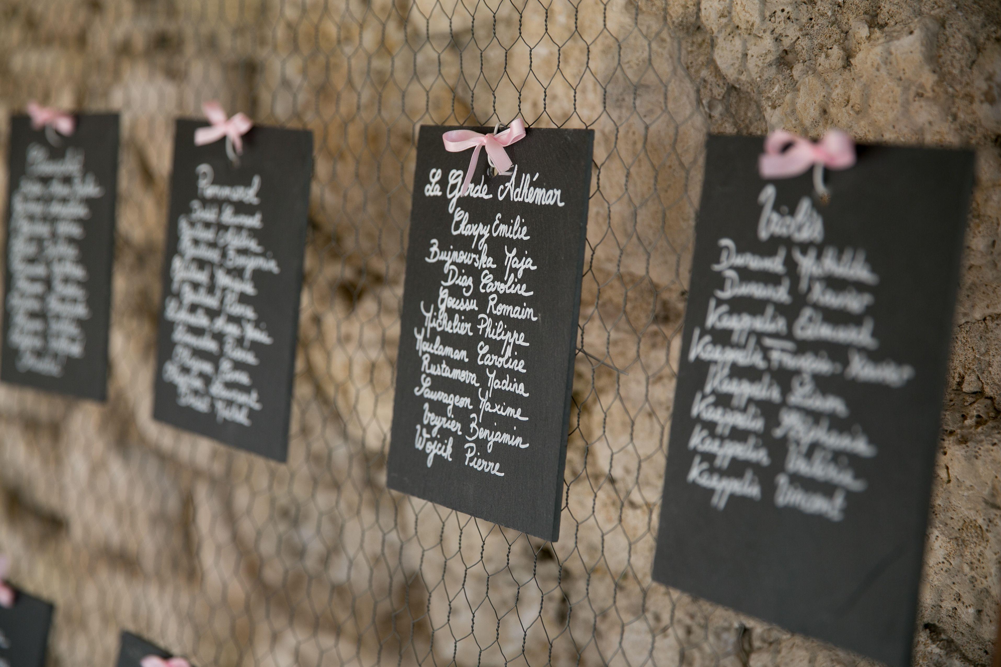 plan de table grillage poule ardoises noeuds ruban rose noms de tables noms de villages. Black Bedroom Furniture Sets. Home Design Ideas
