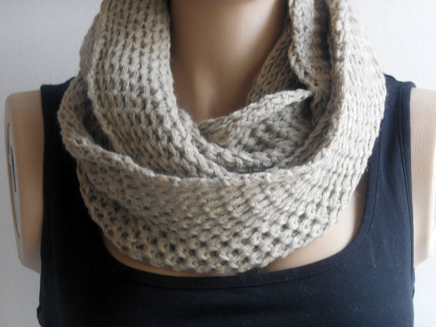 Knitting Loop Scarf : Beige knit scarf infinity scarves unisex loop