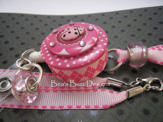PINK LADYBUG  Retractable Badge Reel Desidgner by BeasBuzzDesigns, $20.00