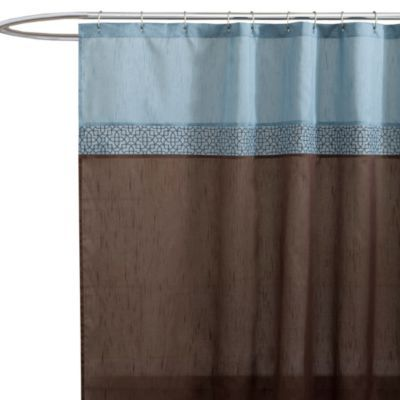 Geometric Blue Brown Fabric Shower Curtain Bedbathandbeyond Com Light Blue Curtains Fabric Shower Curtains Blue And Brown Curtains