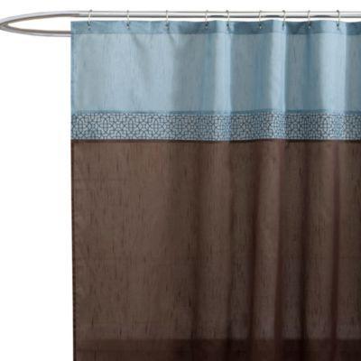 Buy Geometric Blue/Brown Fabric Shower Curtain From Bed Bath U0026 Beyond