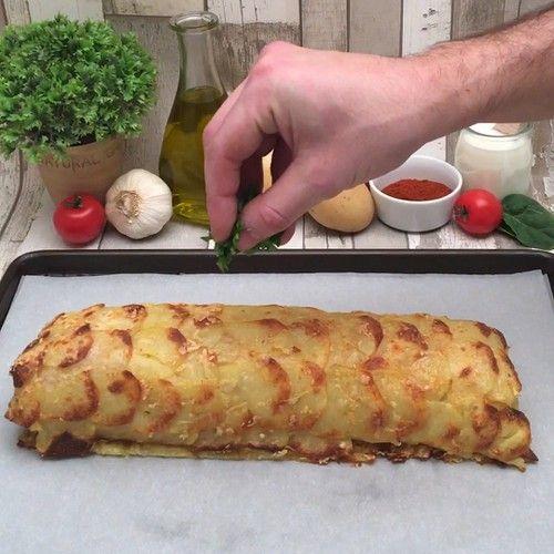 Recette Le roulé de pommes de terre gratinées sur