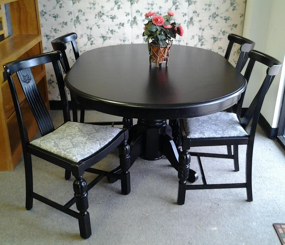Black Pedestal Table and Chairs, purchased and customized here at the shop