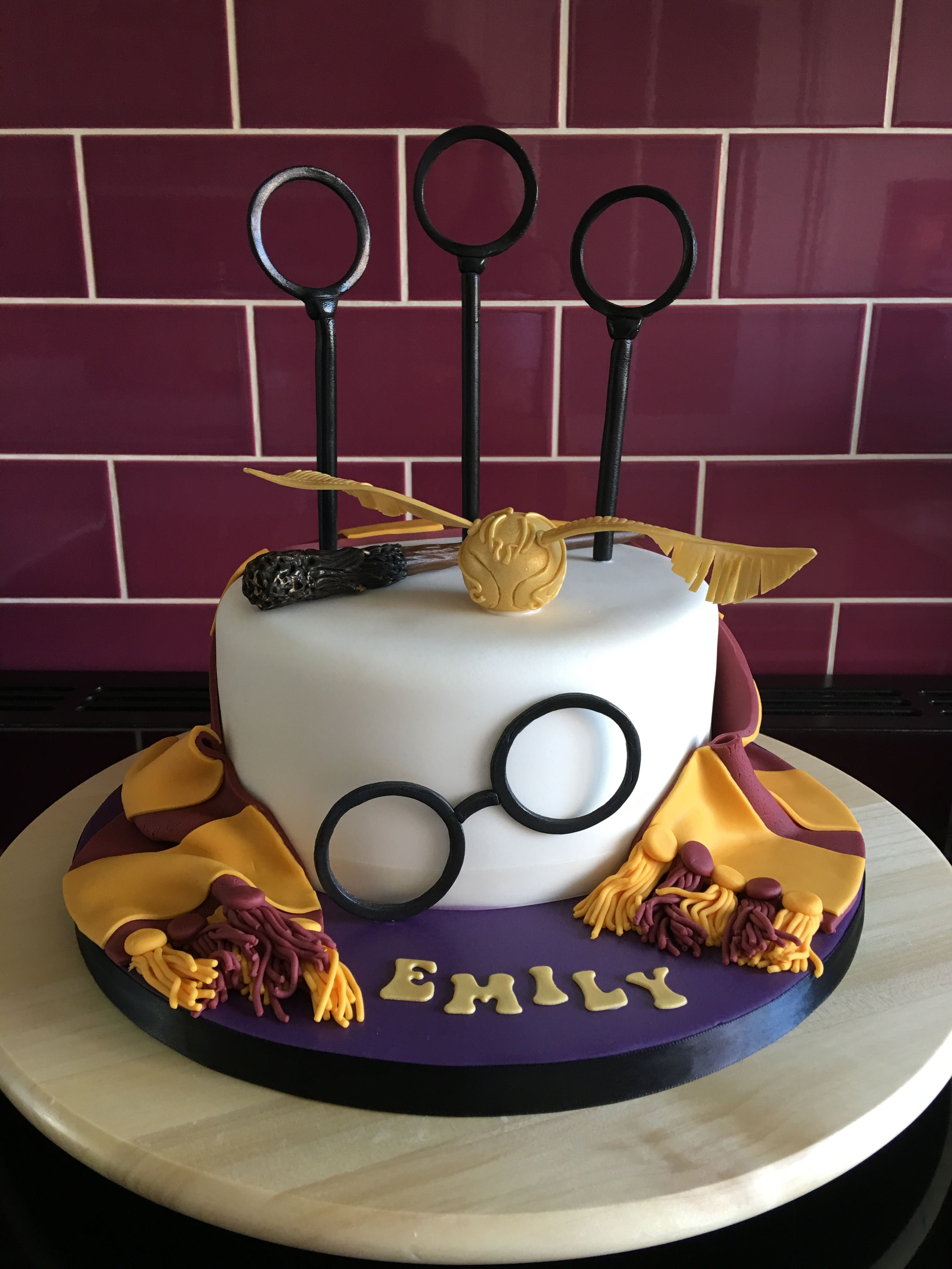 Harry Potter Themed Cake With Quidditch Rings Snitch Scarf And Glasses