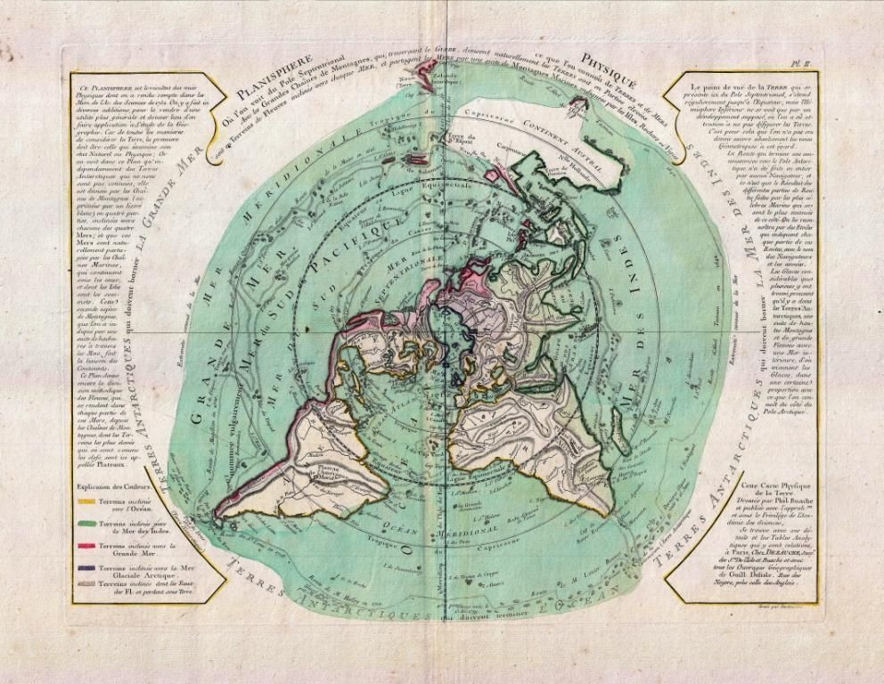 Buache de neuville map of the world on polar projection circa 1781 buache de neuville map of the world on polar projection circa 1781 flat earth gumiabroncs Images