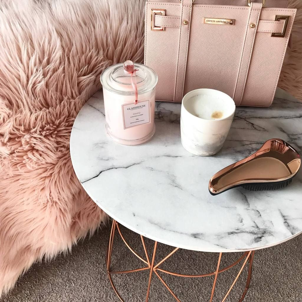 Kmart Hack Marble and Rose Gold Coffee Table DIY