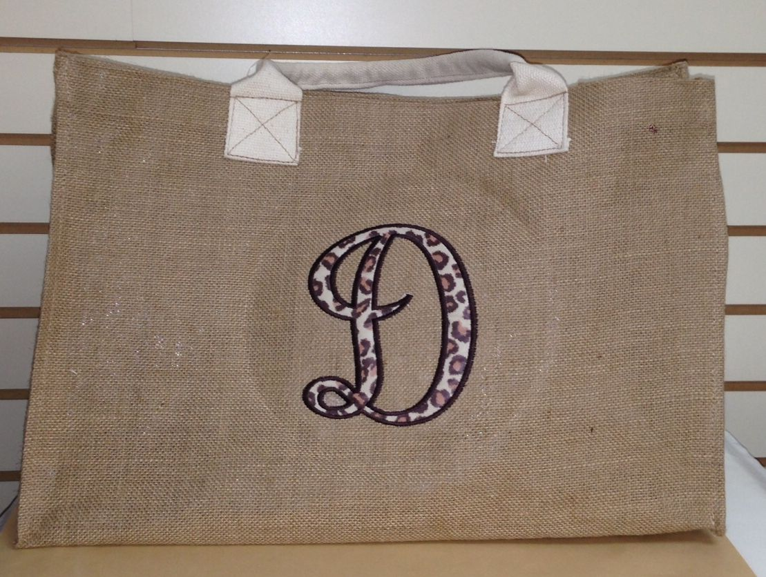 Applique Monogram on a burlap tote. Have yours made in your choice of applique fabric.