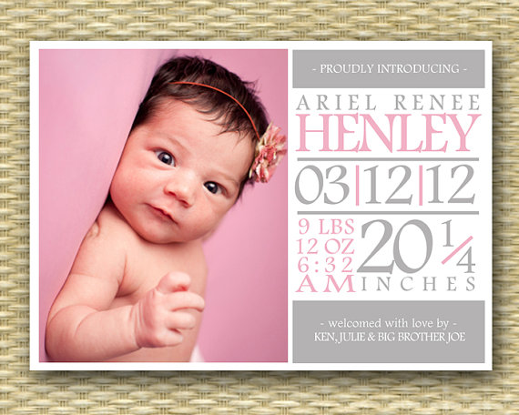 baby girl birth announcement subway art typography style baby