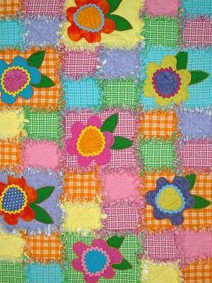 """Elizabeth's Quilts: Flower Power """"Rag"""" Quilt"""