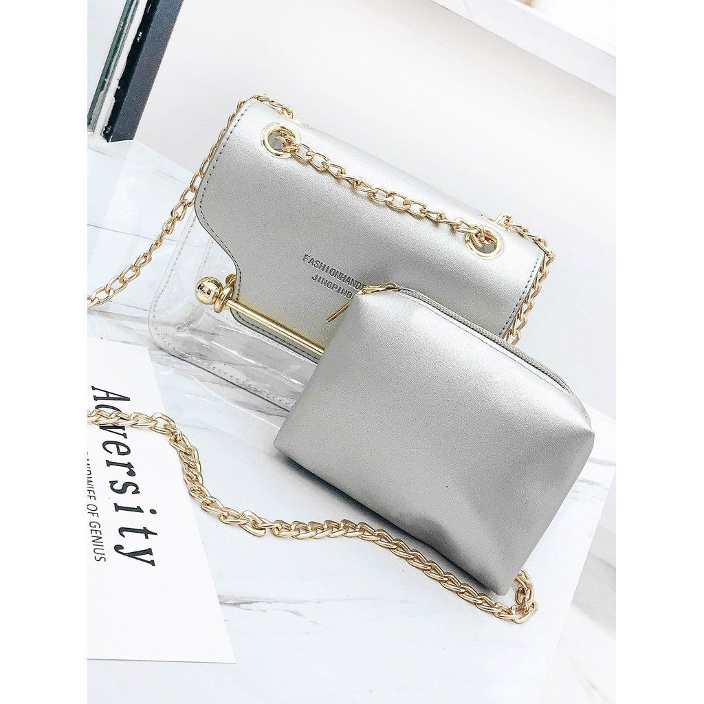 Pu Chain Bag With Inner Pouch Lv Luxury Tas