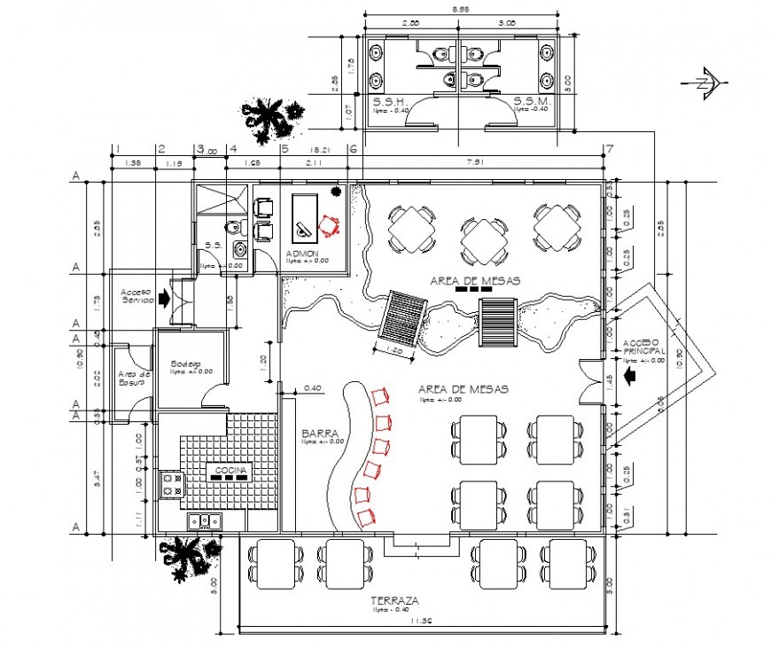 Restaurant Layout Plan With Bar Area In Dwg Autocad File Restaurant Layout Restaurant Plan Layout