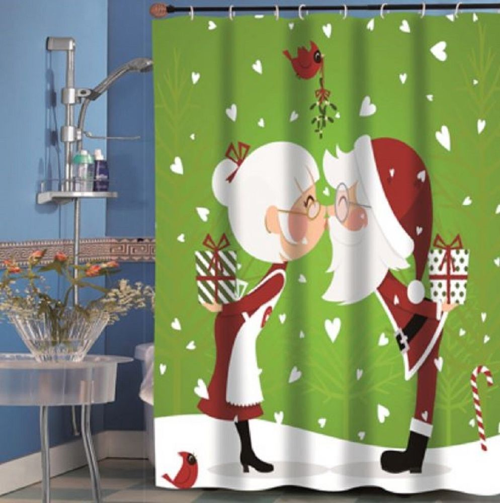 Claus Couple Kissing Shower Curtain Old Fashioned Christmas Bath