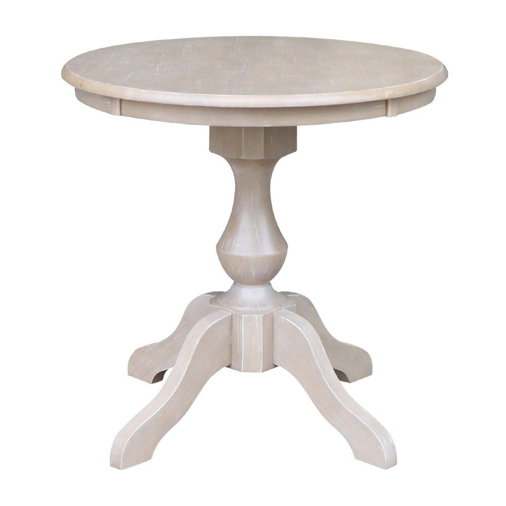 Solid Wood 30 X 30 Round Pedestal Dining Table Washed Gray Taupe