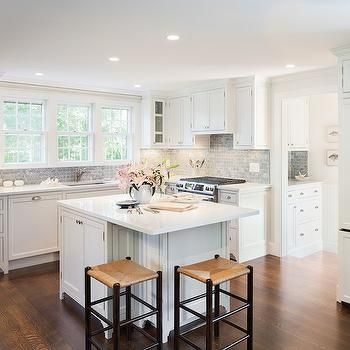 Honed Bardiglio Marble, Transitional, Kitchen, Sophie Metz Design