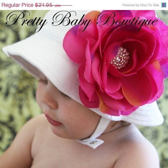 Baby Flower Sun Hat  Infant Girl Sun Cap  by PrettyBabyBowtique, $17.56