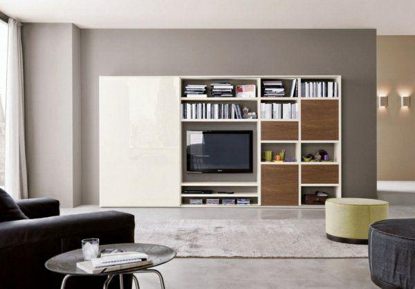 meuble-salon-blanc-bois-porte-coulissante Salon moderne