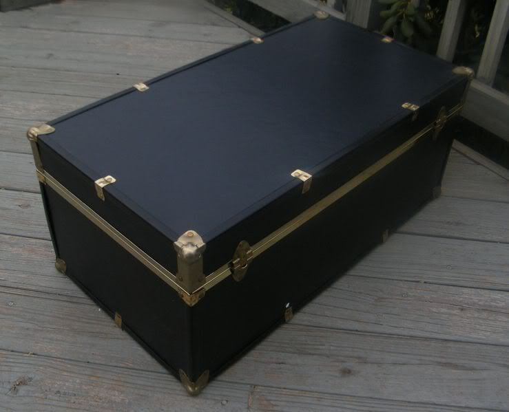 VINTAGE SEWARD BLACK TRAVEL STEAMER TRUNK WARDROBE LUGGAGE STORAGE BOX