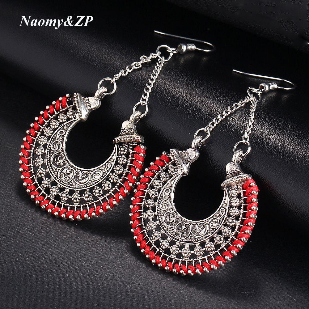 Lange Erklärung Ethnic Schwarz Blau Hochzeit Rot Bohemian Ohrringe Frauen Vintage Quaste Big Ohrringe Für Frauen Modeschmuck