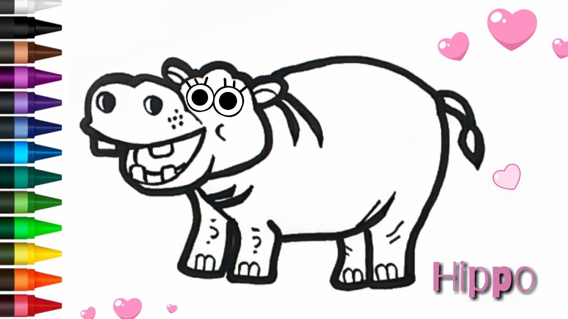 Menggambar Dan Mewarnai Hippo Mudah Untuk Anak Anak Cara Menggambar Untuk Anak Anak Anak
