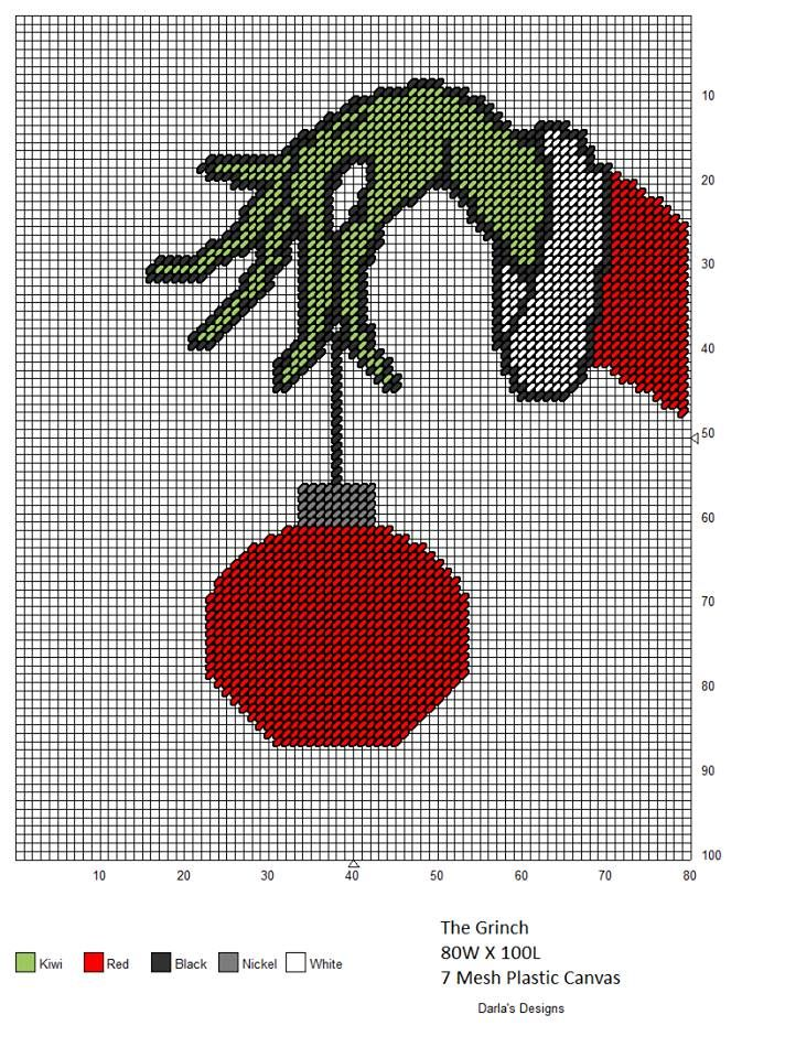 The Grinch stealing a bauble from the tree, needlepoint pattern ...