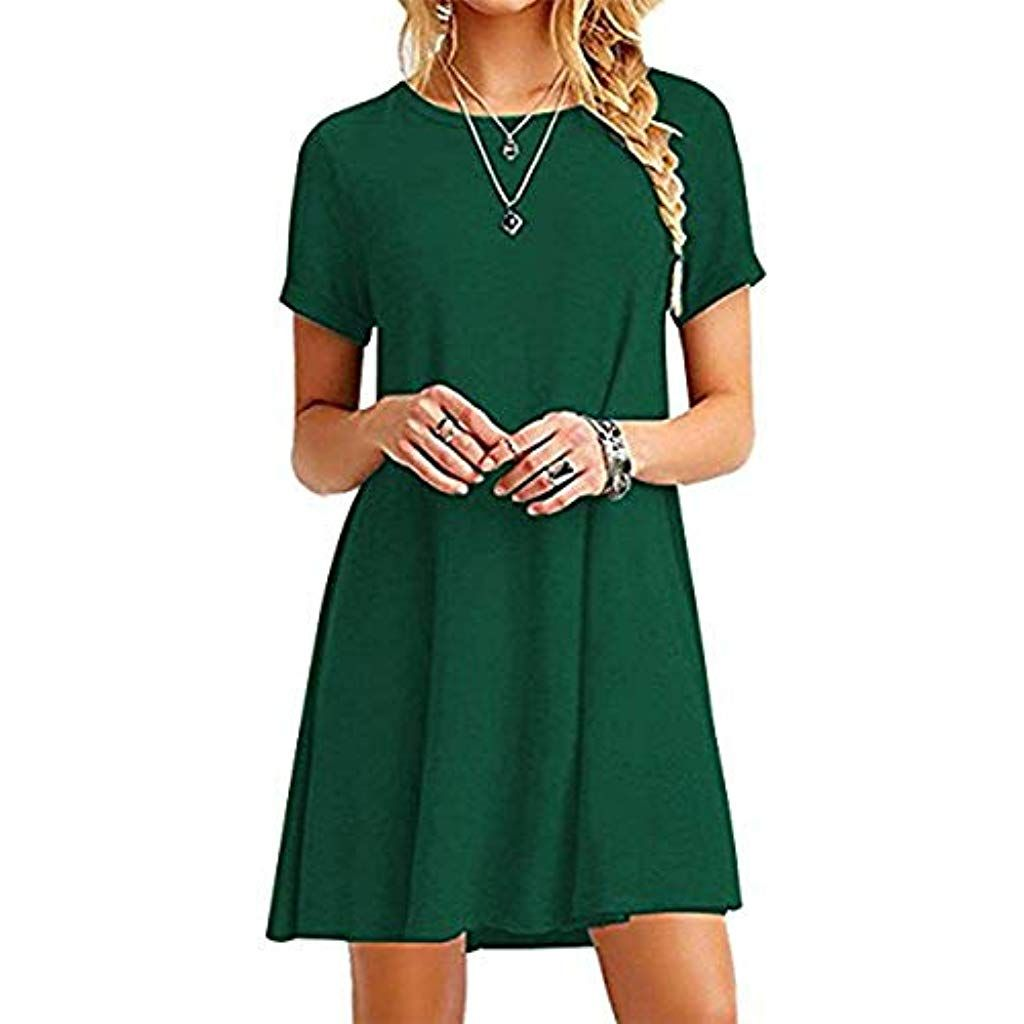 Photo of YOUCHAN Women's Dress Short Sleeves Round Neck Dress …