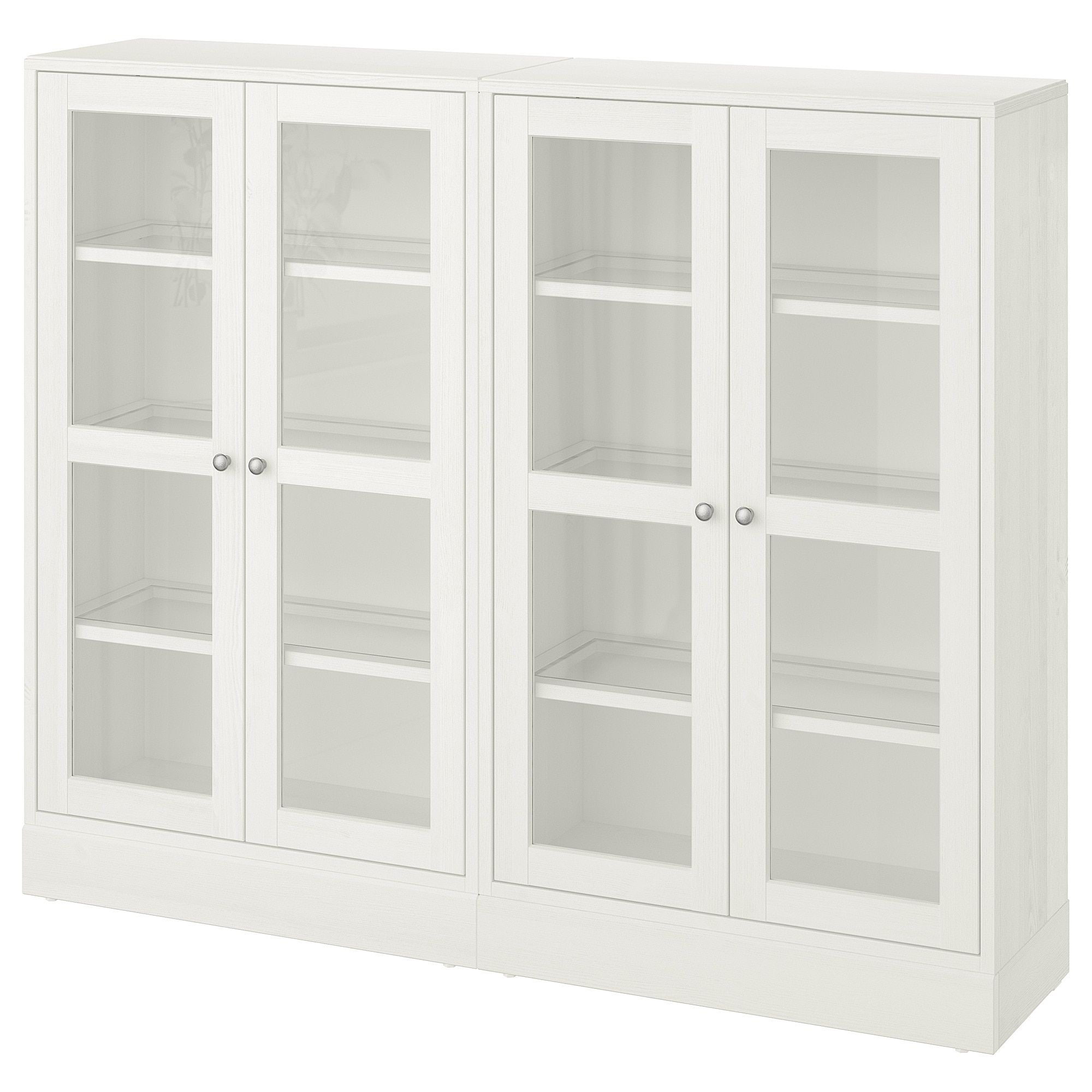 Ikea Havsta White Storage Combination W Glass Doors In 2020 Glass Cabinet Doors Glass Door Ikea