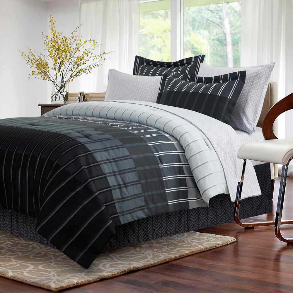 Brown Grey Ombre 8 Piece Grey Full Bed In A Bag Set Bedding