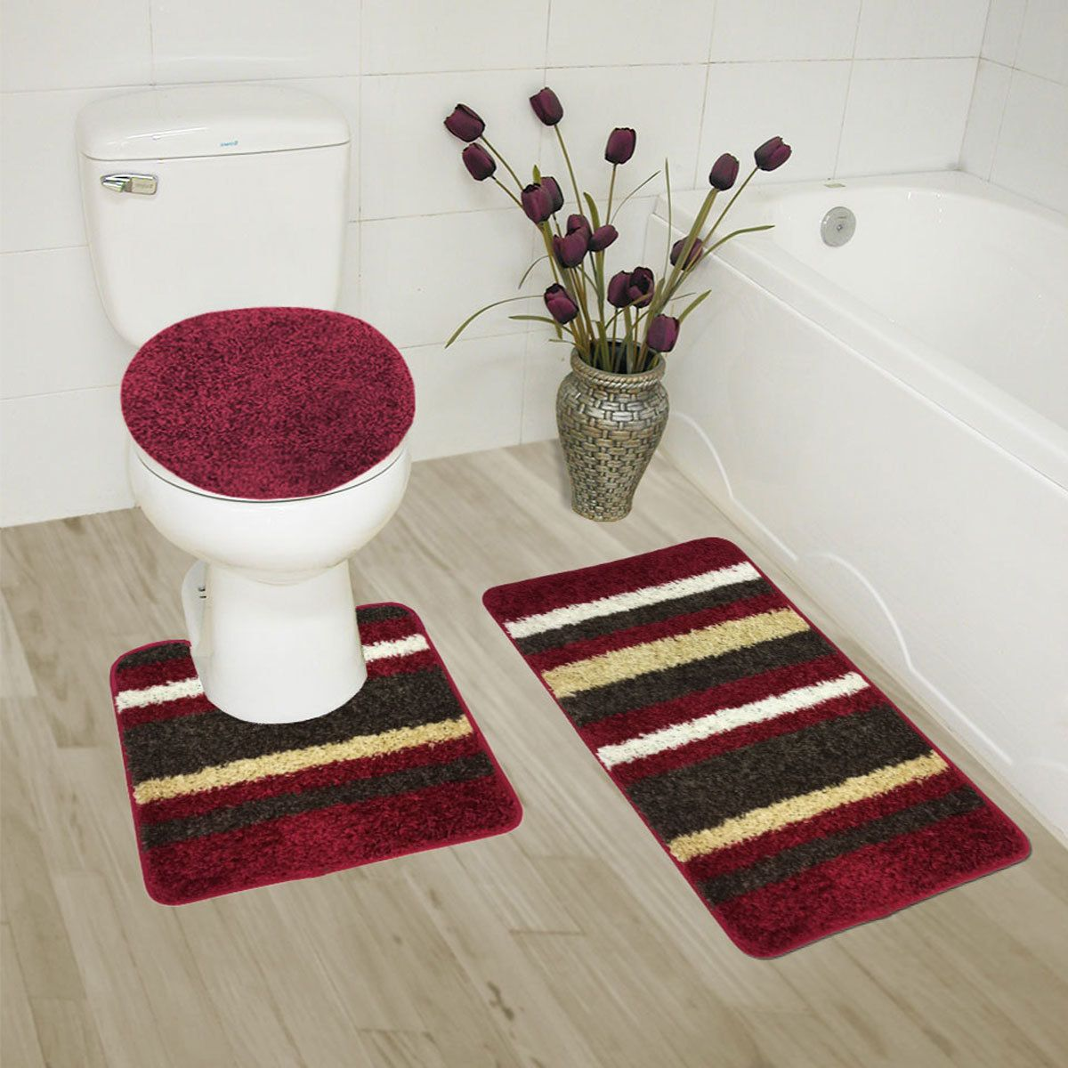 Abby 3 Piece Bathroom Rug Set Bath Contour Lid Cover High Pile Polypropylene SetsPolypropylene RugsBath