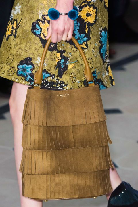 Fringe is remaining a strong message through to Fall 2015 if Burberry's chic tan suede version has anything to say about it.