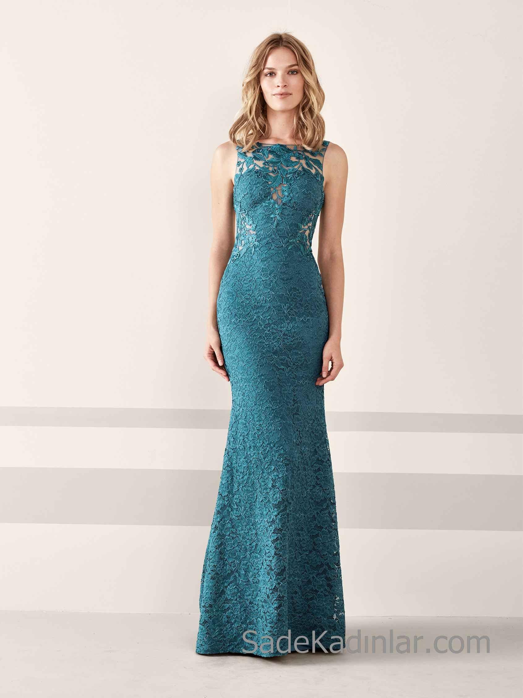 Pronovias 2020 Abiye Elbise Modelleri Yesil Uzun Balik Etekli Kolsuz Transparan Yakali Resmi Elbise Elbise Modelleri Elbise